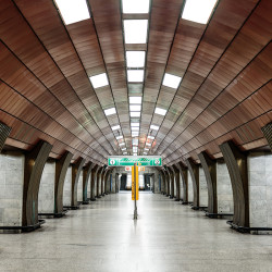 Middle aisle of Želivského station (Prague Metro)