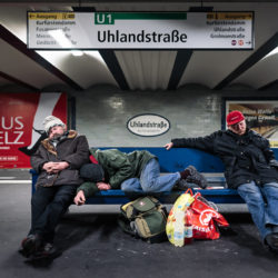 Homeless at Uhlandstraße station U1