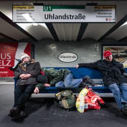 Homeless at Uhlandstraße station U1