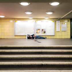 Homeless at Tempelhof station U6