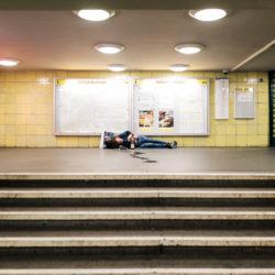 Homeless at Tempelhof station U6