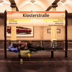 Homeless at Klosterstraße station U2