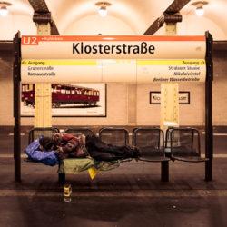 Homeless at Klosterstraße station U2