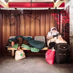 Homeless at Schloßstraße station U9
