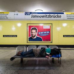 Homeless at Jannowitzbrücke station U8