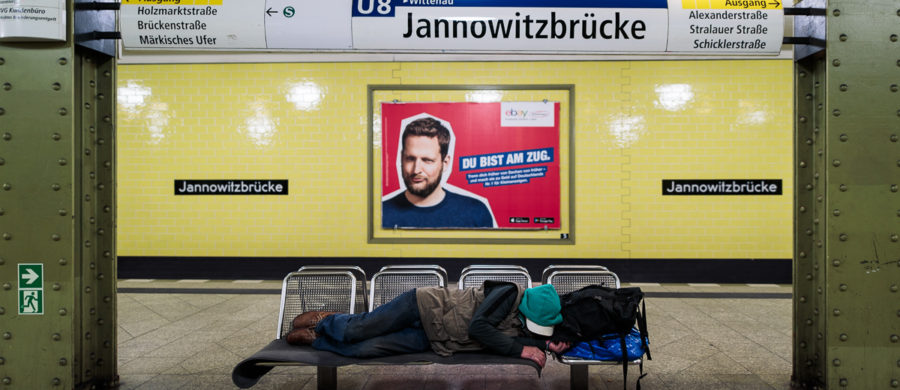 Homeless at Jannowitzbrücke station U8