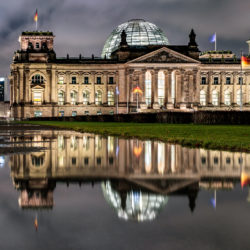 German Reichstag reflection at night