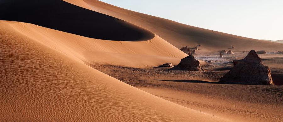 Dune of Dasht-e Lut and Kalout rocks