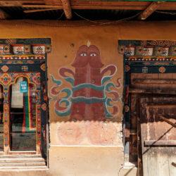 Penis Wandbild in Bhutan