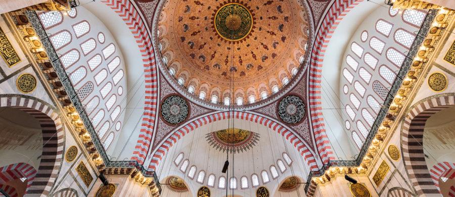 Fully illuminated cupola of Süleymaniye Mosque (Süleymaniye Camii) in Istanbul