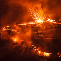Lava lake with Strombolian